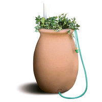 Terra Cotta 50-Gallon Rain Barrel with 4-Foot Garden Hose