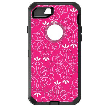 DistinctInk™ OtterBox Defender Series Case for Apple iPhone / Samsung Galaxy / Google Pixel - Neon Pink White Floral