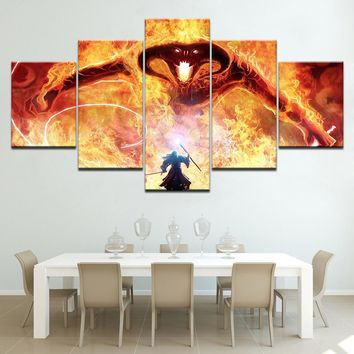 Home Decor HD Printed Wall Art Painting Pictures 5 Panel The Lord Of The Rings Balrog and Gandalf Canvas printed Artwork