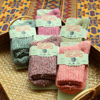Japanese Cute Solid Wool Socks Women's  Kawaii Pink Purple Warm Socks Winter Simple Thermal Thick Socks