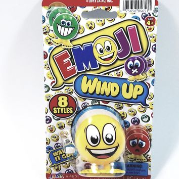 """EMOJI 3"""" Wind Up Toy Happy Smiley Face Figure"""
