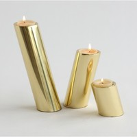 DwellStudio | SLANTED CANDLEHOLDERS-BRASS - New Arrivals - Decor