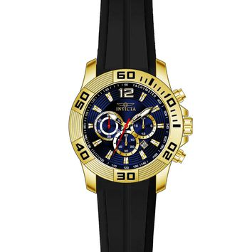 Invicta 20299 Men's Pro Diver Blue Dial Black Silicone Strap Chronograph Watch