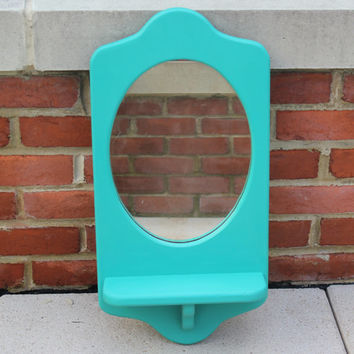 Turquoise wall mirror with shelf, hand-painted in Annie Sloan Florence chalk paint