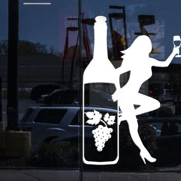 Window Vinyl Wall Decal Bottle Glass Wine Grapes Sexy Girl Alcohol Stickers (2162igw)