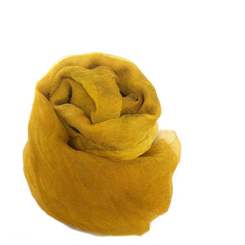 "Hand Dyed Silk Gauze, skinny scarf, 9 x 88"", dark yellow, yellow ochre, mustard, gold, wet felting instructions, free ship w/ wool purchase"