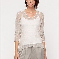 Soft V-Neck Top in Airy Melange Linen Grain with Leather Trim