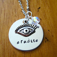 Divergent Inspired Factions Necklace. Erudite Faction. Tris. Silver colored, charm pendant, Swarovski crystal, hand stamped jewelry.