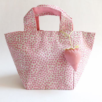 Girl's Mini Bag / STRAWBERRY / Gift for Girl / Birthday for Gift / Girl's Purse / Spring / Floral / Pink