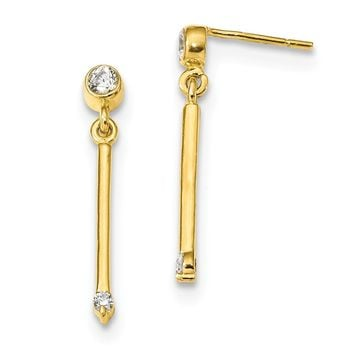 925 Sterling Silver Gold-tone Polished Bar with CZ Post Dangle Earrings
