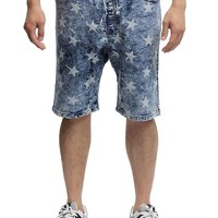 Men's Star Print Denim Dropcrotch Shorts JS348 - I6B