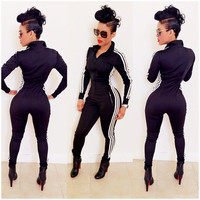 Black Striped Side Long Sleeve Jumpsuit