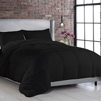Black Contemporary Down Alternative Comforter Set - Box Stitching, Hypoallergenic, King/Queen/Twin XL (Full/Queen)
