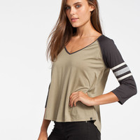 Billabong Taking Blame Womens Baseball Tee Olive  In Sizes
