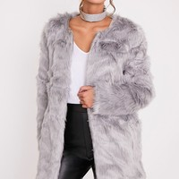 Florencia Grey Faux Fur Coat