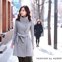 Trench Coat Thickened Wool - Fashion Wool for Women's - Gray - Long Cashmere - Winter Autumn
