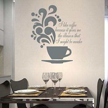 Wall Decals Quote I Like Coffee Because It Cup Coffee Decal Vinyl Sticker Family Bedroom Home Decor Interior Design Cafe Kitchen Ms413