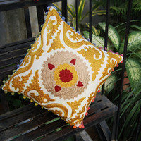 """Pillow Cases Indian Handcrafted Embroidered Pillows Christmas Gift Traditional Suzani Artwork Hippie Stylish Decorative Cotton Pillows 16"""""""