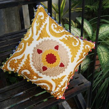 Pillow Cases Indian Handcrafted Embroidered Pillows Christmas Gift Traditional Suzani Artwork Hippie Stylish Decorative Cotton Pillows 16""