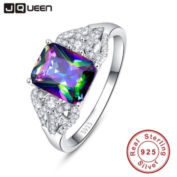 Hot Emerald Cut 3ct Natural Mystic Fire Rainbow Topaz Engagement Wedding Ring Genuine 925 Sterling Silver Rings for Women