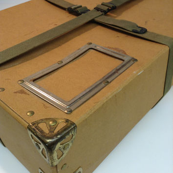 Vintage Military Box Shipping Package 1960's Stamps John Dewey Thomas Paine Eugene O'Neill Playwright Mail Industrial Minimalist