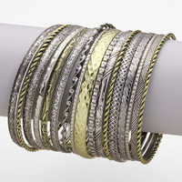 Silver & Gold 17 Layered Bracelet Set