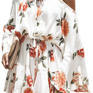 White Floral Print Slouchy Chic Holiday Playsuit