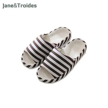 Spring Home Casual Men Flax Slippers Stripe Indoor Bedroom Flip Flops Comfortable Open Toe Sandals Fashion Man Shoes