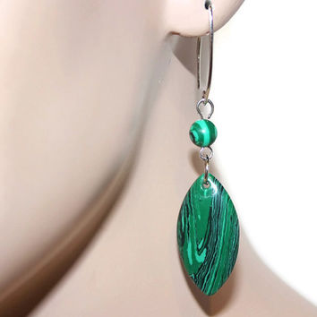 Malachite Earrings, Marquise Shape Dangle Earrings, Green Gemstone Earrings
