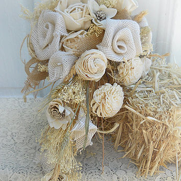 Burlap & Sola Flower Bridal Cascade Bouquet, Handmade of burlap roses, sola flowers, babies breath, twine and wheat. Ready to Ship!