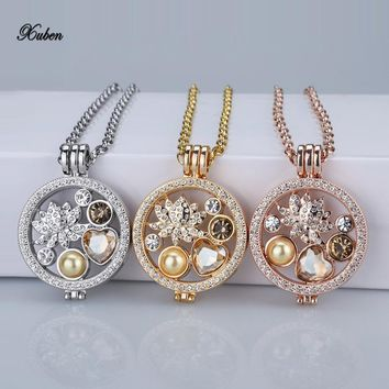 rose gold interchangeable 35mm coin holder necklace fit my 33mm coins crystal disc for  frame pendants necklaces women love gift