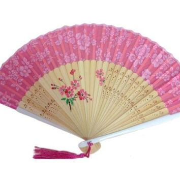 Cotton Cloth Folding Fan Woman      rose red