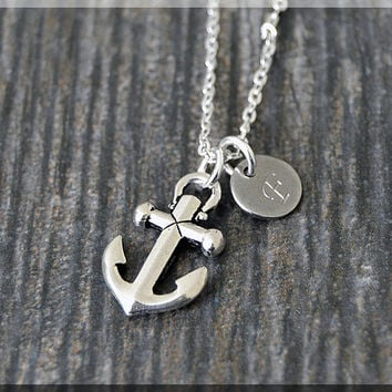 Silver Anchor Charm Necklace, Initial Charm Necklace, Personalized, Anchor Pendant, Nautical Jewelry, Monogram Sailor Necklace