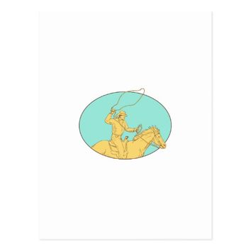 Rodeo Cowboy Lasso Horse Circle Drawing Postcard