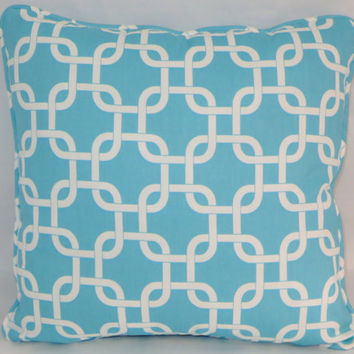 "Aqua Chain Links Throw Pillow,  17"" Square,  Turquoise & White Cotton, Welted Edge,  Bright Blue,  Insert Included,  Ready Ship"