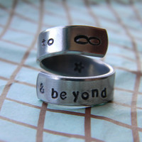 to infinity & beyond   aluminum swirl style  ring 1/4 inch
