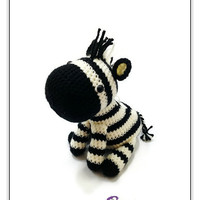 Crochet Cream Black Zebra Amigurumi - Striped Horse Stuffed Toy - Safari Animal Plushie - READY TO SHIP