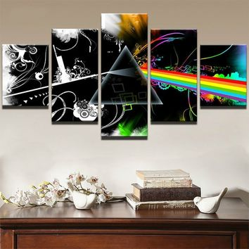 5 Panel Frameless Music Canvas Painting Vintage Wall Art Picture for Living Room Home Decor