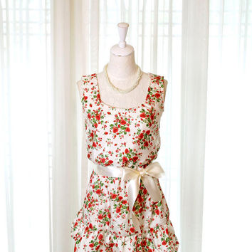 Strawberry Garden red flowers floral blossom tunic French dress lace trim cream ribbon sash ruffles