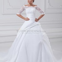 Bateau Neckline Taffeta Ball Gown with Half Sleeves and 3D Flower