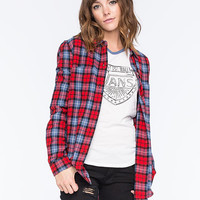 Vans Adolescence Womens Flannel Shirt Red  In Sizes