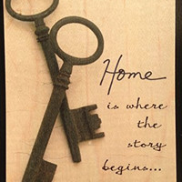 Vintage Cedar Mailable Wooden Post Card (Home is where the story begins (Keys))