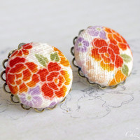 Japan studs, Floral earrings, earring stud, Fabric posts,  Button earrings romantic style - medium size