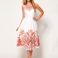 ASOS Midi Dress With Embroidery at asos.com