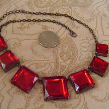 "Vintage Ruby Red GLASS Necklace 7 Large Squares Adjustable to 18""   N 70"