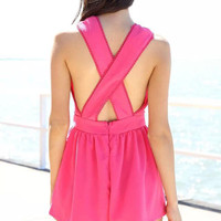 Hot Pink Surplice V Neck Crossback Pleated Rompers