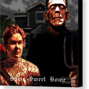 American Gothic Resurrection Home Sweet Home 20130715 Square Canvas Print
