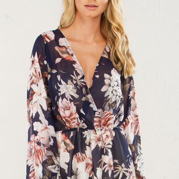 HOLD ME CLOSE LONGSLEEVE CHIFFON ROMPER - What's New