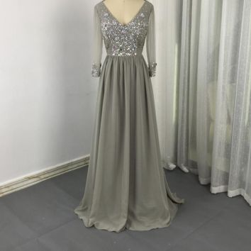 Three Quarter Sleeve Dress for Mother of Bride V Neck A line Floor Long Chiffon Crystal Sequin Beaded