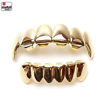 Jewelry Kay style Men's Vampire Fangs GRILLZ 14K Gold Plated Top & Bottom Plain Teeth L020/S001 G